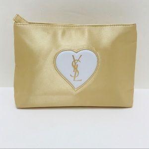 YSL Gold Satin Clutch Bag Yves Saint Laurent